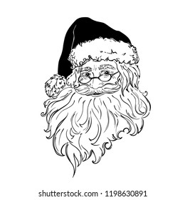 Santa Claus. Black and white hand drawn vector illustration isolated.