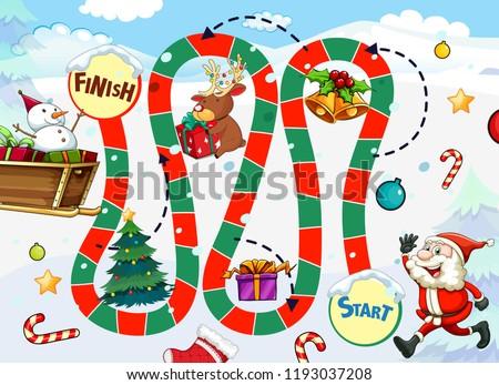 santa claus board game template illustration stock vector royalty