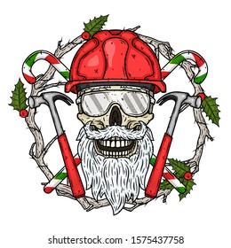 Santa Claus Builder in construction helmet. The skull of Santa Claus with Christmas wreath, crossed candy and hammers