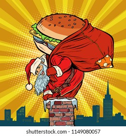 Santa Claus with a Burger climbs into the chimney. Food delivery. Pop art retro vector illustration vintage kitsch drawing
