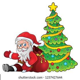 Santa Claus by Christmas tree theme 1 - eps10 vector illustration.