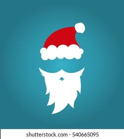 Santa Claus cap and beard on blue background illustration. Christmas fun