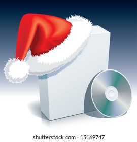 Santa Claus cap on a software box with CD.