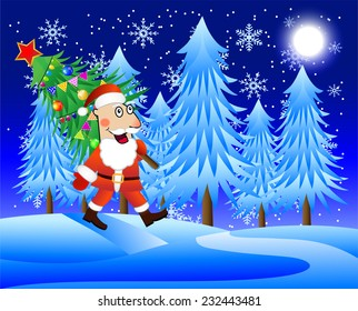 Santa Claus carries the decorated Christmas tree,  vector  illustration