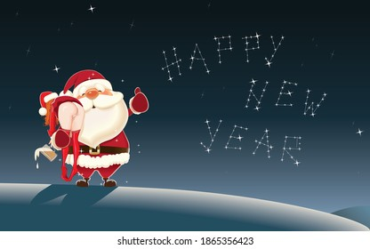 Santa Claus carries a drunk Santa Girl on the North Pole with stars in the background in the form of a constellation Happy New Year