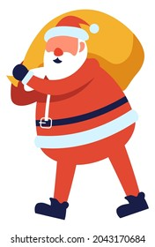 Santa Claus carrying bag of presents and gifts for merry christmas and new year holiday in winter. Xmas character celebrating and greeting with christmastime. Fantasy personage. Vector in flat style