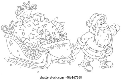 Santa Claus carrying a big bag of Christmas gifts on his sledge