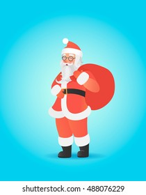 Santa Claus carrying big sack on his shoulder.