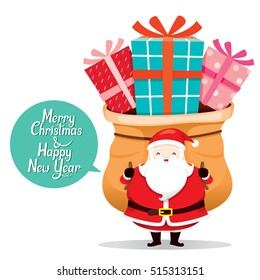 Santa Claus Carrying Big Sack With Gift Box On The Back, Merry Christmas, Xmas, Happy New Year, Objects, Festive, Celebrations