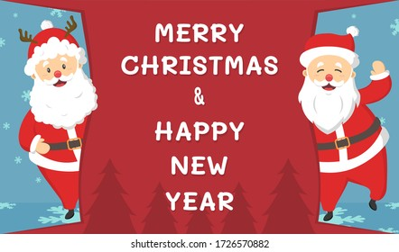 Santa Claus cartoon character banner  with Merry Christmas text on red background banner. Vector design