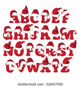 Santa Claus cartoon hat font alphabet for Christmas designs. Capital letters A through Z. EPS 10 vector.