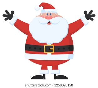 Santa Claus Cartoon Mascot Character Holding Up His Arms. Vector Illustration Flat Design Isolated On White Background