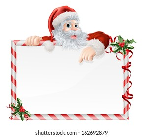 Santa Claus Cartoon Sign with Santa peeking over a sign that is decorated with Christmas Holly