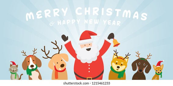 Santa Claus with Cat and Dogs, Christmas, Winter and New Year Celebration