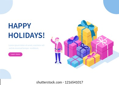 Santa Claus character and Christmas gifts. Can use for web banner, infographics, hero images. Flat isometric vector illustration isolated on white background.