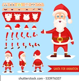 Santa Claus character creation set.Collection of various emotions. Different white beards,new year hats,bended hands, legs.Side view, front, back of Santa.Vector elements for character animation