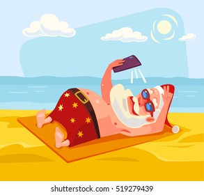 Santa Claus character makes selfie on beach. Vector flat cartoon illustration