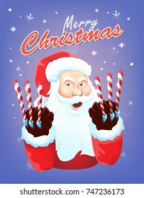 Santa Claus character on magic purple snowy background.