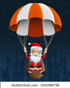 Santa claus character in Para suit vector background design. Cute christmas character santa claus flying with Para suit and carrying bag or sack with happy face in snow falling night background.