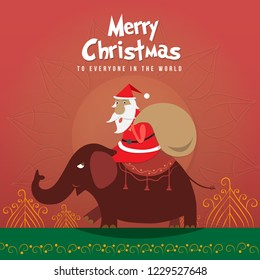 Santa Claus character with presents, cartoon Christmas illustration with Christmas Background Funny happy , For Christmas cards, banners, tags and labels and to Facebook upload