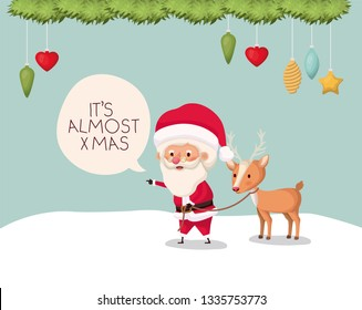 santa claus character with reindeer in snowscape