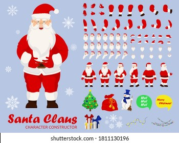 Santa Claus character set for the animation with various views, hairstyle, emotion, pose and gesture. Santa in different keyframes. Santa claus with beard in xmas costume.