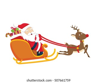 Santa Claus Character - The Winter Sleigh Trip With Rudolph