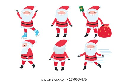 Santa Claus characters with beard in traditional red costume