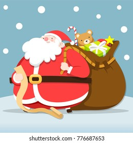 Santa claus checking list for give Christmas gifts ,Vector Illustration