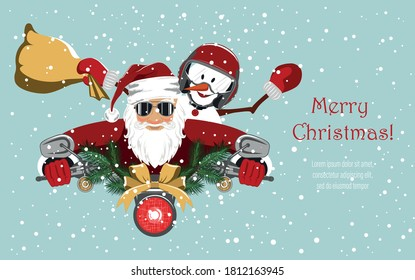Santa Claus and a cheerful snowman are riding a motorcycle. Background for covers, banners, flyers, splash screens. Merry Christmas.