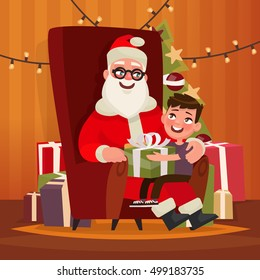 Santa Claus with a child sitting in a chair. Vector illustration