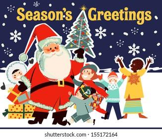 Santa Claus with Children from Around the World
