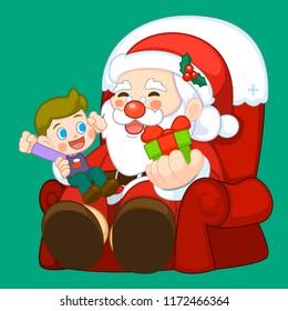 Santa Claus with children  cartoon for Christmas eve decoration.Santa Claus cartoon isolated
