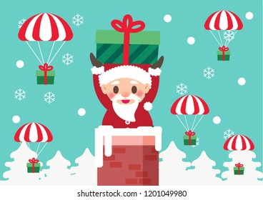 santa claus in the chimney with gift parachute for christmas celebration illustration background vector