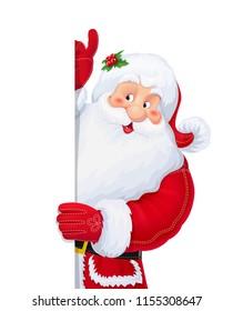 Santa Claus. Christmas cartoon character. Winter holiday. Xmas celebrating. New year symbol. Isolated white background. EPS10 vector illustration.