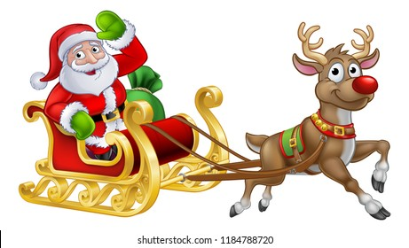 Santa Claus Christmas cartoon character riding in his sleigh pulled by a reindeer