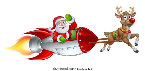 Santa Claus Christmas cartoon character riding in rocket ship sleigh pulled by a reindeer