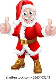 Santa Claus Christmas cartoon character standing giving a double thumbs up.