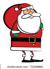 Santa Claus Christmas cartoon character in green and red bold colors. Vector Illustration
