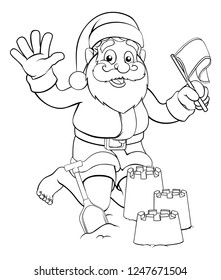 Santa Claus Christmas character on the beach making sandcastles