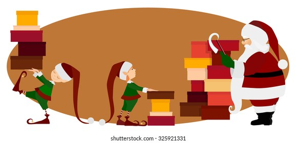 Santa Claus and Christmas elves with gifts
