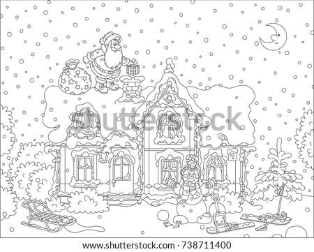 santa claus with christmas gifts on a snow covered rooftop of a house