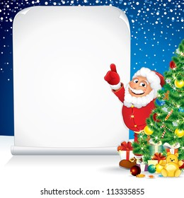 Santa Claus with Christmas Gifts and Wishing List
