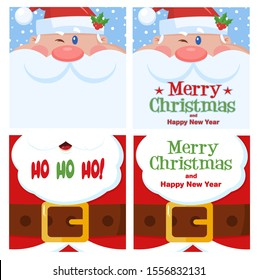 Santa Claus Christmas Greetings Card Set 2. Flat Vector Collection Isolated On White Background
