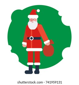Santa Claus from Christmas and New Year. Santa Claus holding sack with gift box. Vector isolated flat style illustration