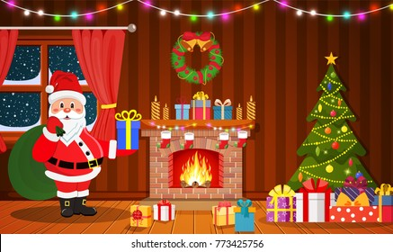 Santa Claus in Christmas room interior with fireplace, tree and gifts. Holiday decorations. Vector illustration in a flat style