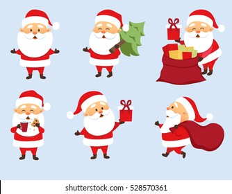 Santa Claus Christmas set. Funny Father Frost run with bag, give gift box, hold Christmas tree, eat cookies and drink milk, pulls out gifts from bag . Character design.