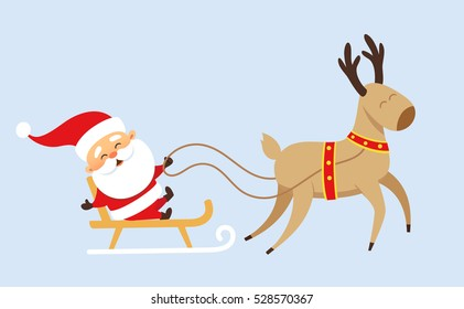 Santa Claus Christmas set. Funny Father Frost rides in a sleigh pulled by reindeer. Christmas character design travel.