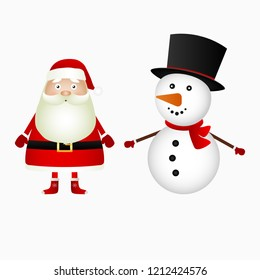 Santa Claus and Christmas snowman on a white background