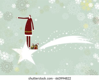 Santa Claus and christmas star